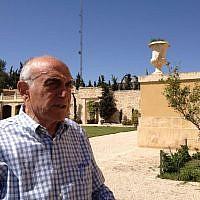 Munib Al-Masri at his home, Beit Falasteen, overlooking Nablus, April 8, 2014 (photo credit: Suha Halifa/Times of Israel)