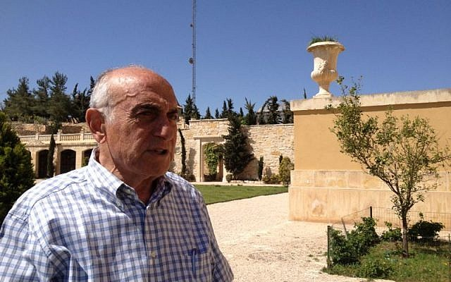 Munib Al-Masri at his home, Beit Falasteen, overlooking Nablus, April 8, 2014 (photo credit: Suha Halifa/Times of Israel)