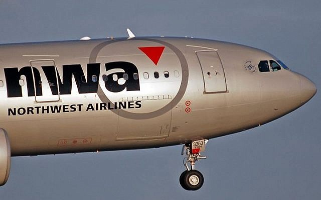 The nose of a Northwest Airlines Airbus A330-223 in flight (photo credit: Russavia/Wikimedia Commons/File)