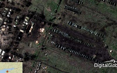 This satellite image made on March 22, 2014 shows what is purported to be a Russian military airborne or Spetznaz (Special Forces) brigade at Yeysk, some 20 miles from the Ukrainian coast (photo credit: AP/DigitalGlobe via SHAPE)