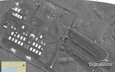 This satellite image made on March 27, 2014 shows what is purported to be a Russian artillery battalion at a military base near Novocherkassk, east of the Sea of Azov, southern Russia. (photo credit: AP/DigitalGlobe via SHAPE)