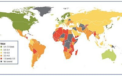 The Global Information Technology Report's Network Readiness Index map (Photo credit: Courtesy)