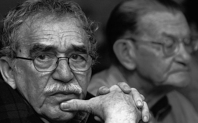 In this 2003 photo released by the Fundación Nuevo Periodismo Iberoamericano (FNPI), Colombian Nobel laureate Gabriel Garcia Marquez (left), is seen in Monterrey, Mexico, with Colombian journalist Jose Salgar. (photo credit: AP/Andres Reyes, FNPI)