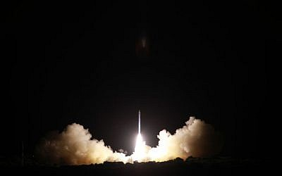Israel's Ofek-10 satellite takes off from Palmachim Air Base in central Israel on April 9, 2014. (Ministry of Defense and Israel Aerospace Industries)