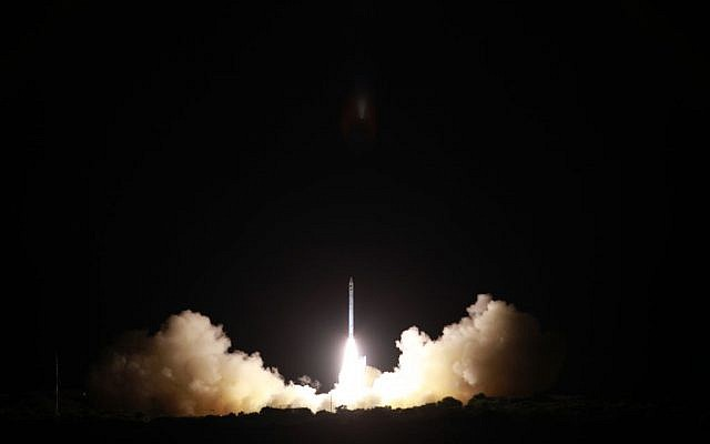 Israel's Ofek-10 satellite takes off from Palmachim air base in central Israel on April 9, 2014. (photo credit: Israel Ministry of Defense and Israel Aerospace Industries)