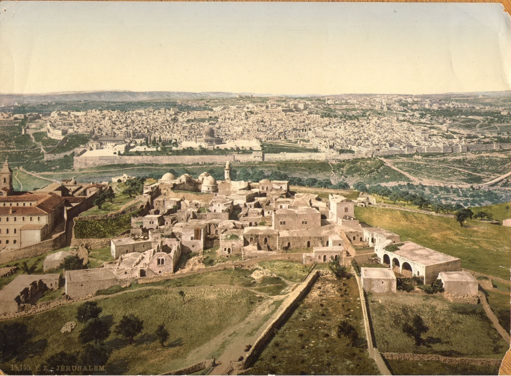 Jerusalem's Old City and Temple Mount from the Russian Orthodox Church on the Mount of Olives (undated) (photo credit: © DEIAHL, Jerusalem)