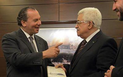 Rabbi Marc Schneier with Mahmoud Abbas (photo credit: Mahmud Alian)