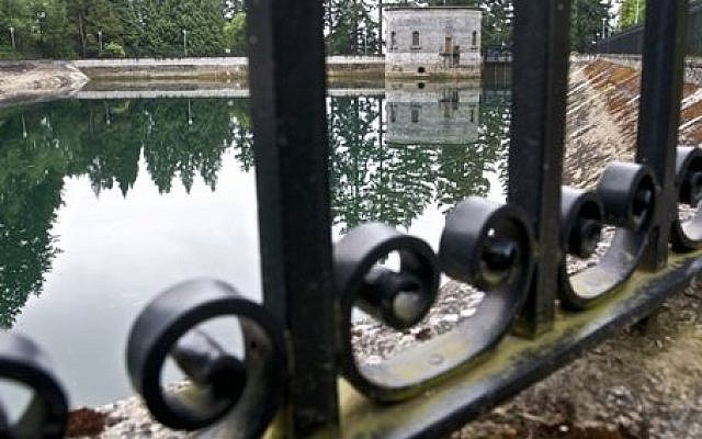 The Mount Tabor No. 1 reservoir in Portland, Oregon, June 2011 (photo credit: AP/The Oregonian, Benjamin Brink)