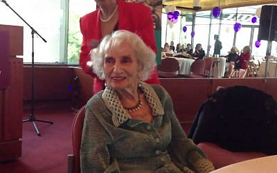 Ruth Gruber at her 102nd birthday party. (screen capture: YouTube)
