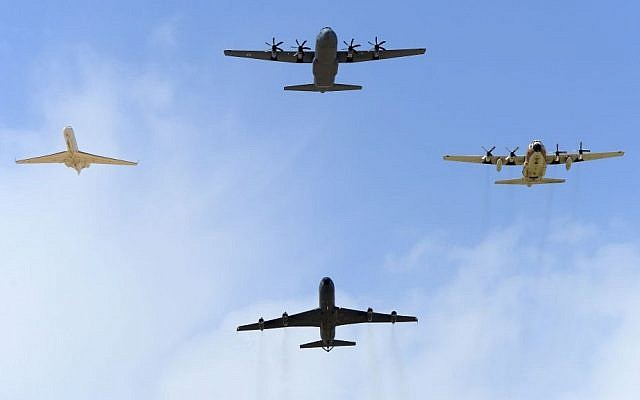 The IAF's new Super Hercules plane, top center, coming in for a landing in Israel. (photo credit: courtesy IDF)