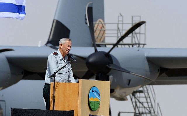 IDF Chief of Staff Benny Gantz speaks at the ceremony welcoming the IAF's new SUper Hercules airplane, on April 9, 2014. (photo credit: courtesy IDF)