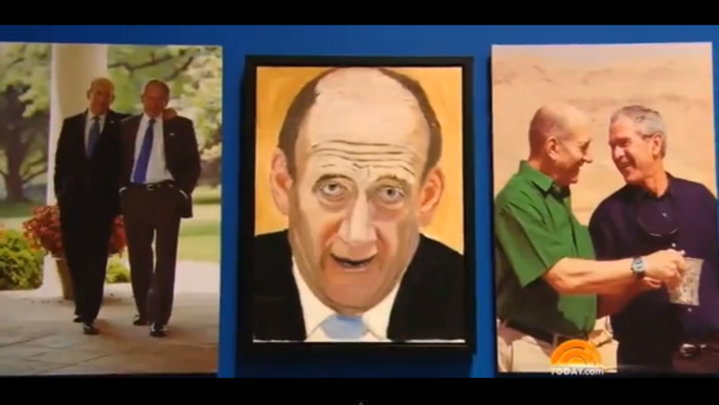 Olmert Immortalized By Bush The Artist The Times Of Israel