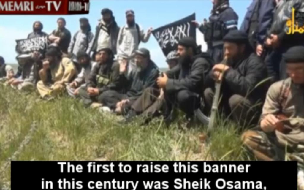 Jabhat al-Nusra fighters in the Syrian Golan Heights praise Osama bin Laden. (screen capture: MEMRI)