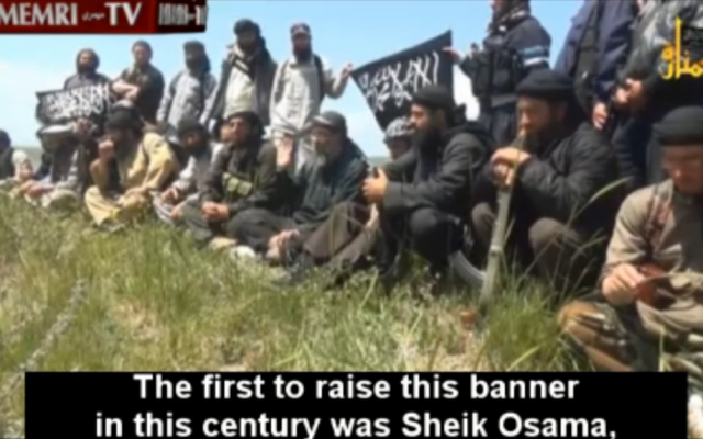 Jabhat al-Nusra fighters in the Syrian Golan Heights praise Osama bin Laden. (screen capture: MEMRI)