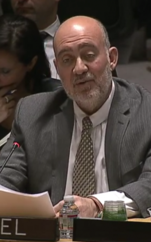 Israel's UN envoy Ron Prosor addresses the UN Security Council in New York, on April 29, 2014 (screen capture: YouTube)