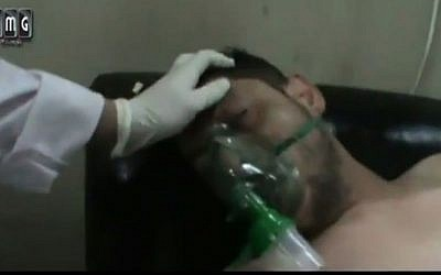 YouTube footage posted April 16 purporting to show victims of a poison gas attack by Syrian President Bashar Assad's forces (Screen capture: YouTube)