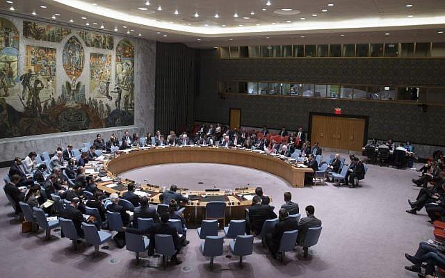 The UN Security Council, April 2014. (photo credit: AP Photo/John Minchillo)