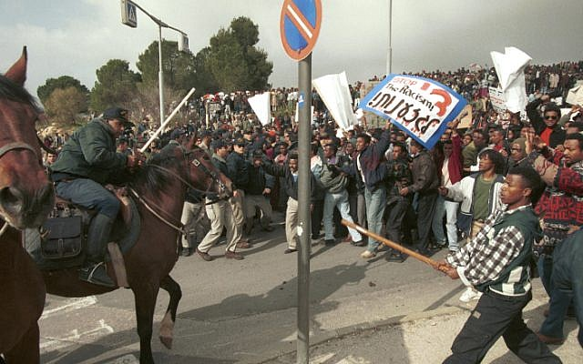 The violent protest over blood donations in January 1996 (photo credit: Flash 90)