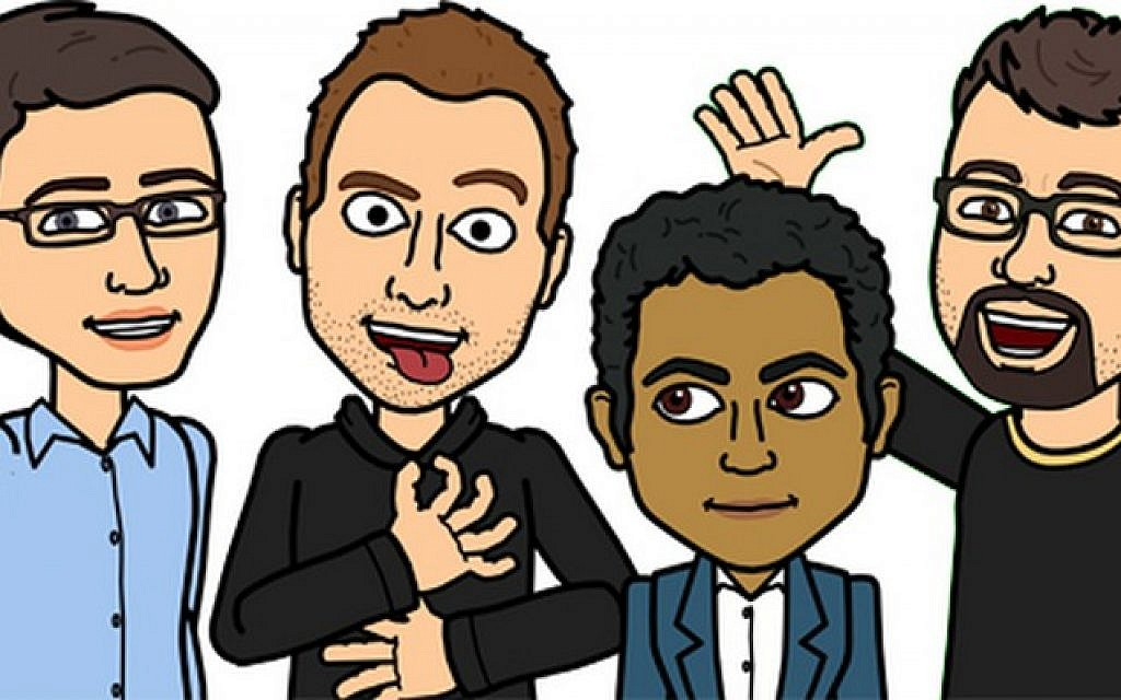 Bitstrips' executive team, as Bitstrip avatars. Blackstock is second from left. (courtesy Bitstrips)