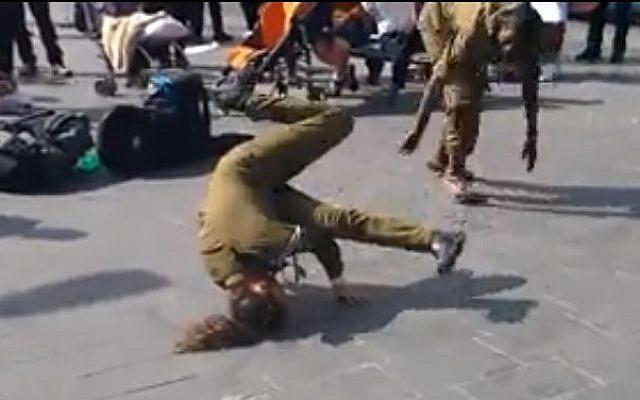 Breakdancing IDF soldiers in Jerusalem (photo credit: image capture Facebook/Tamar Bitton/Son of the Drum)