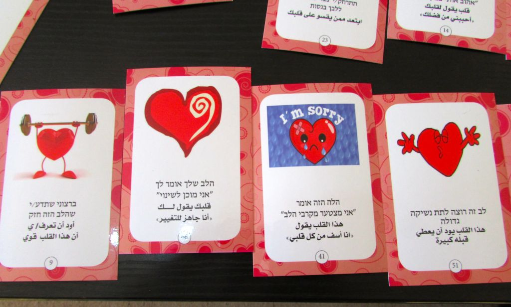 A few of the training cards used to help the volunteers learn counseling skills. (photo credit: Debra Kamin/Times of Israel)