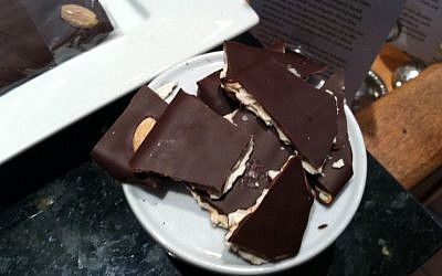 Chocolate matzah brickle makes for bite-size treats. (Mark Hurvitz via JTA)