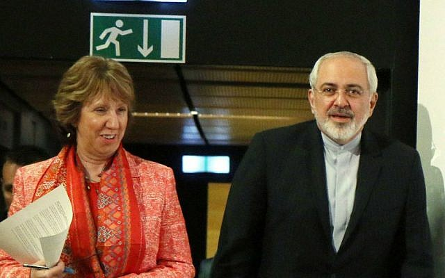 European foreign policy chief Catherine Ashton and Iranian Foreign Minister Mohamad Javad Zarif, after closed-door nuclear talks in Vienna, Austria, Wednesday, April 9, 2014 (photo credit: AP /Ronald ZaK)