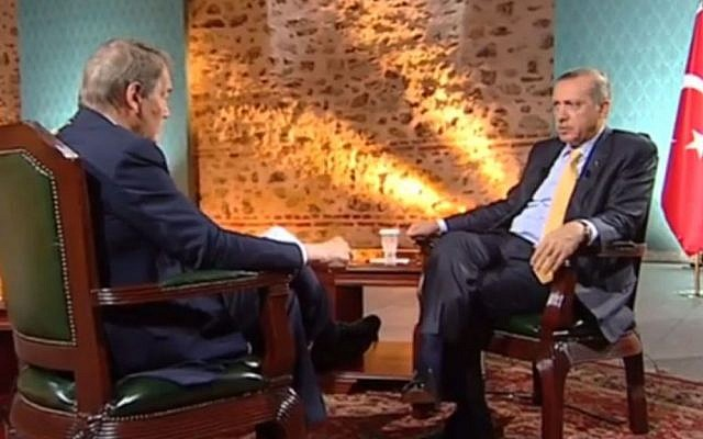 Turkish Prime Minister Recep Tayyip Erdogan in an interview with Charlie Rose, April 28 2014. (screen capture: YouTube)