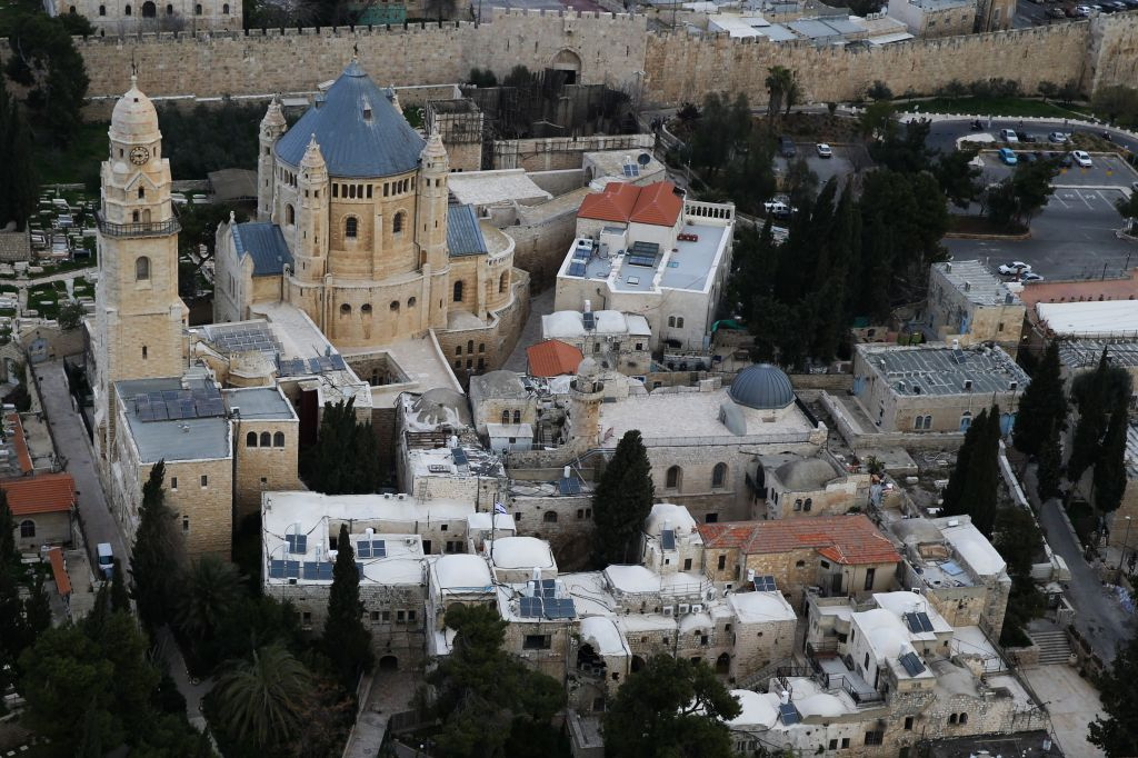A view of Mount Zion, with Dormition Abbey featured front and center (Photo credit: Nati Shohat/Flash 90)