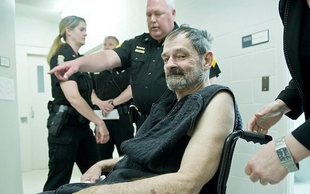 Frazier Glenn Miller, Jr. appears at his arraignment on capital murder and first-degree murder charges on April 15, 2014 in New Century, Kansas. (photo credit: David Eulitt-Pool/Getty Images/JTA)