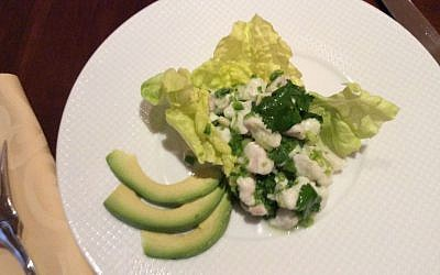 Halibut Ceviche serves as an alternative to gefilte fish for an appetizer or light lunch. (Courtesy Helen Nash via JTA)