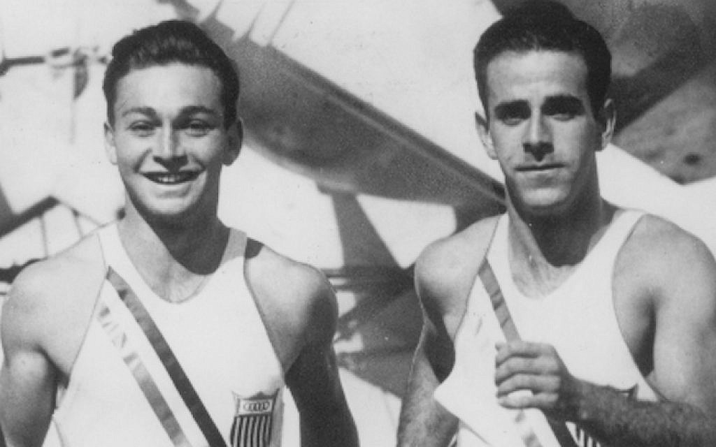 Marty Glickman (left), and Sam Stoller, at sea en route to the 1936 Olympics (photo credit: Courtesy Nancy Glickman via JTA)