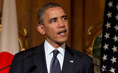 US President Barack Obama during a press conference in Tokyo Thursday, April 24, 2014. (photo credit: AP/Carolyn Kaster)