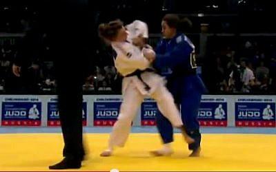 Illustrative screen shot of Gili Cohen (blue) competing. (photo credit: YouTube screen capture)