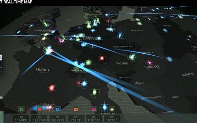 Kaspersky Lab's Worldwide Interactive Cyberthreat Map (Photo credit: Courtesy)