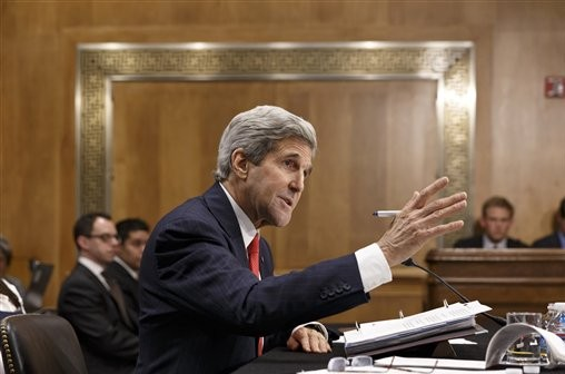 Secretary of State Kerry testifies on Capitol Hill in Washington, Tuesday, April 8, 2014, before the Senate Foreign Relations Committee to discuss his budget and the status of diplomatic hot spots. (photo credit: AP Photo/J. Scott Applewhite)