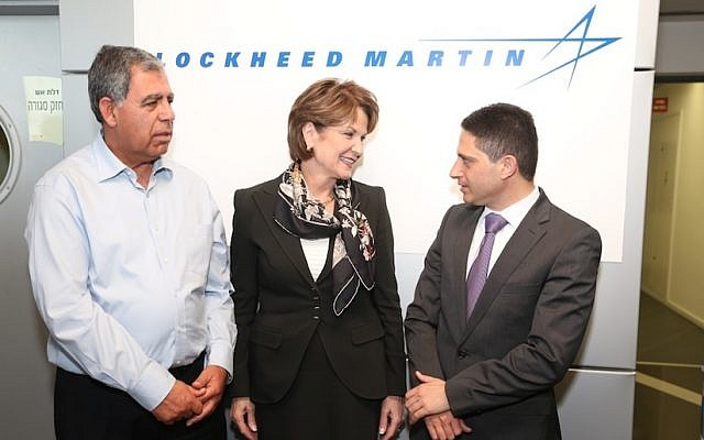 (L to R) Deputy Finance Minister Miki Levy, Lockheed Martin CEO and president Marillyn Hewson, and Beersheba Mayor Ruvik Danilovich at the opening of Lockheed Martin's facility at the Beersheba Advanced Technologies Park (Photo credit: Diego Mittleberg)