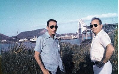 Mike Harari, left, and Mossad commander Yitzhak Hofi in the 70s in Panama (photo credit: courtesy Mike Harari)