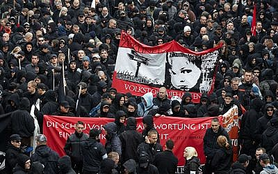 Illustrative: A neo-Nazi demonstration in Leipzig, Germany. (CC BY-SA Herder3, Wikimedia Commons)
