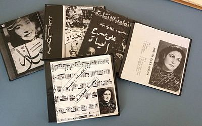 Copies of audio recordings and films starring Souad Zaki that her son Moshe Zaki was able to obtain because they were sold outside of Egypt before the 1952 Revolution. (photo  credit: Renee Ghert-Zand)
