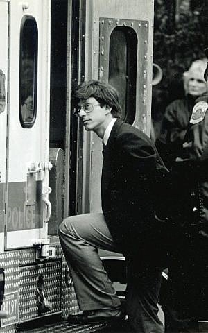 Yossi Abramowitz being arrested in front of the Soviet embassy in Washington, D.C., in 1985 (photo credit: courtesy Yosef Abramowitz)