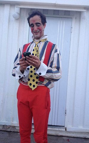 Peter the clown hails from New York but has gotten used to 'speaking Hebrew' during his Florentin stint (photo credit: Jessica Steinberg/Times of Israel)