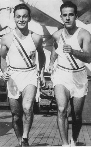 Marty Glickman, left, and Sam Stoller to be posthumously honored at the 2015 European Maccabi Games in Berlin. (Courtesy Nancy Glickman via JTA)