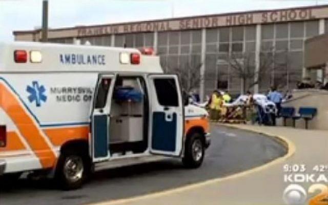 Franklin Regional High School in Murrysville, PA on April 9, 2014 (photo credit: YouTube screenshot)