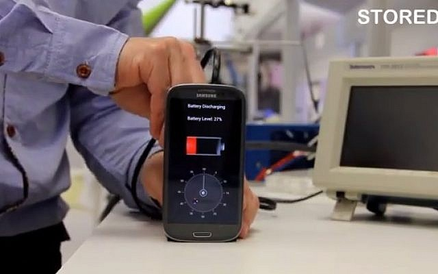 StoreDot's 30-second smartphone charger (photo credit: YouTube screenshot)
