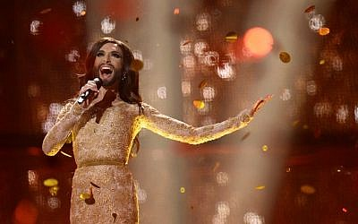 Austria's Conchita Wurst performs the song 'Rise Like A Phoenix' after winning the Eurovision Song Contest 2014 Grand Final in Copenhagen, Denmark, on Saturday, May 10, 2014 (photo credit: AFP/Jonathan Nackstrand)