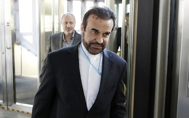 Iran's ambassador to the International Atomic Energy Agency (IAEA) Reza Najafi arrives for a new round of talks with the IAEA at the UN headquaters in Vienna, Austria on May 12, 2014. (photo credit: AFP PHOTO / DIETER NAGL)