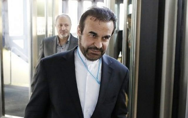 Iran's ambassador to the International Atomic Energy Agency (IAEA), Reza Najafi, arrives in Vienna for a new round of nuclear talks on Monday, May 12, 2014. (photo credit: Dieter Nagl/AFP)