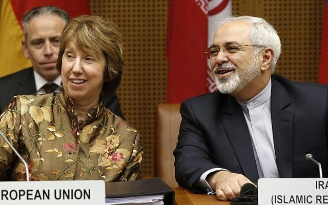 Vice President of the European Commission Catherine Margaret Ashton (L) and Iranian Foreign Minister Javad Mohammad Zarif attend the so called EU 5+1 talks with Iran at the UN headquarters in Vienna, on May 14, 2014.  (photo credit: AFP Photo/Dieter Nagl)