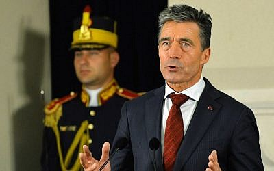 NATO Secretary-General Anders Fogh Rasmussen speaks during a press conference in Bucharest, Romania, on May 16, 2014. (photo credit: AFP/Daniel Mihailescu)